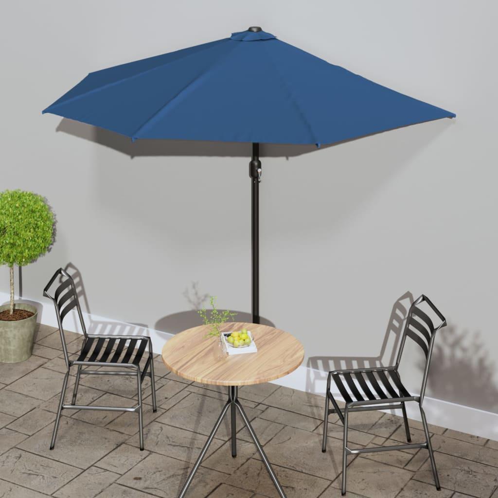 Balkonparasol half met aluminium paal 270x135x245 cm blauw