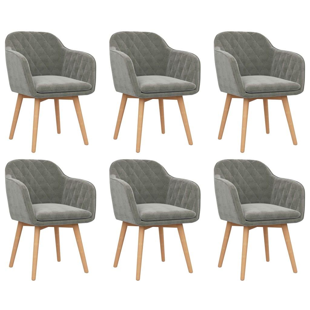vidaXL Krzesła stołowe, 6 szt., jasnoszare, aksamitne