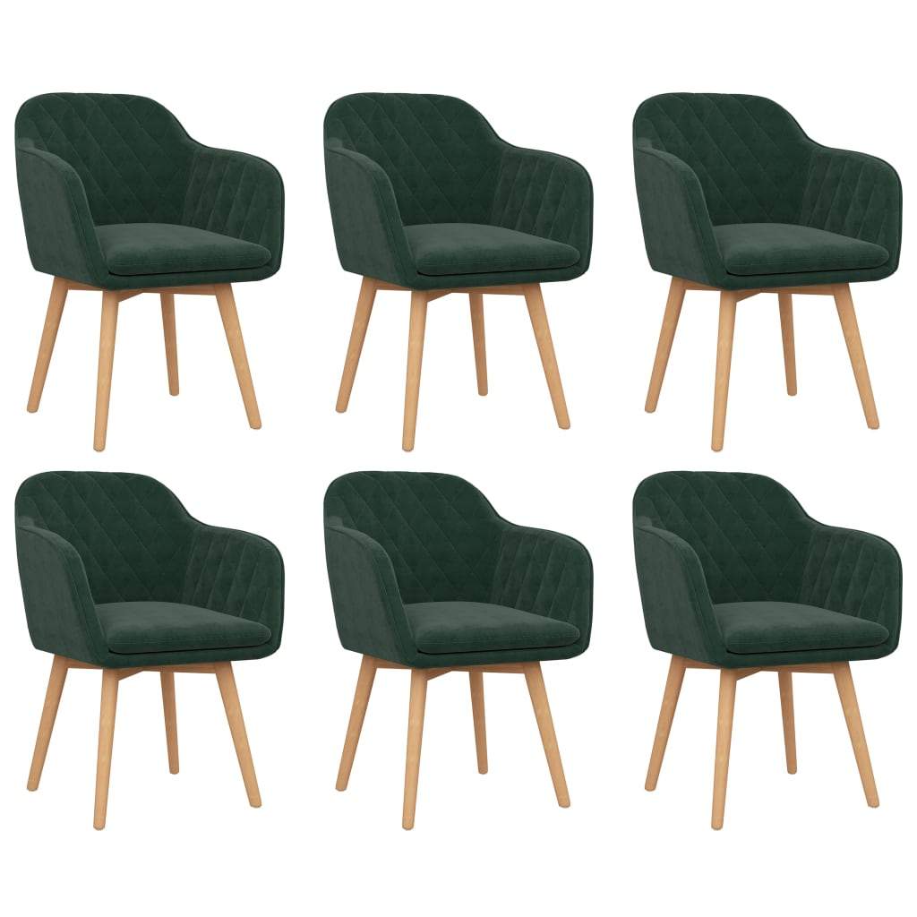 vidaXL Krzesła stołowe, 6 szt., ciemnozielone, aksamitne