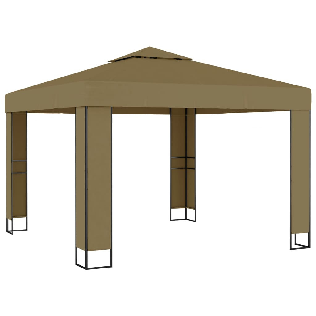 vidaXL Pavilion cu acoperiș dublu, gri taupe, 3 x 3 x 2,7 m, 180 g/m² imagine vidaxl.ro