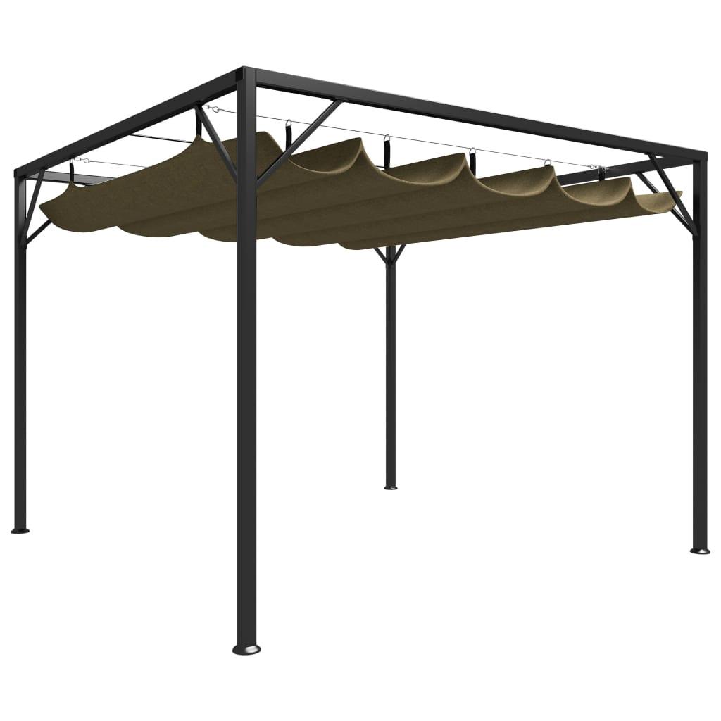 vidaXL Pavilion grădină, acoperiș retractabil gri taupe 3x3 m 180 g/m² poza vidaxl.ro