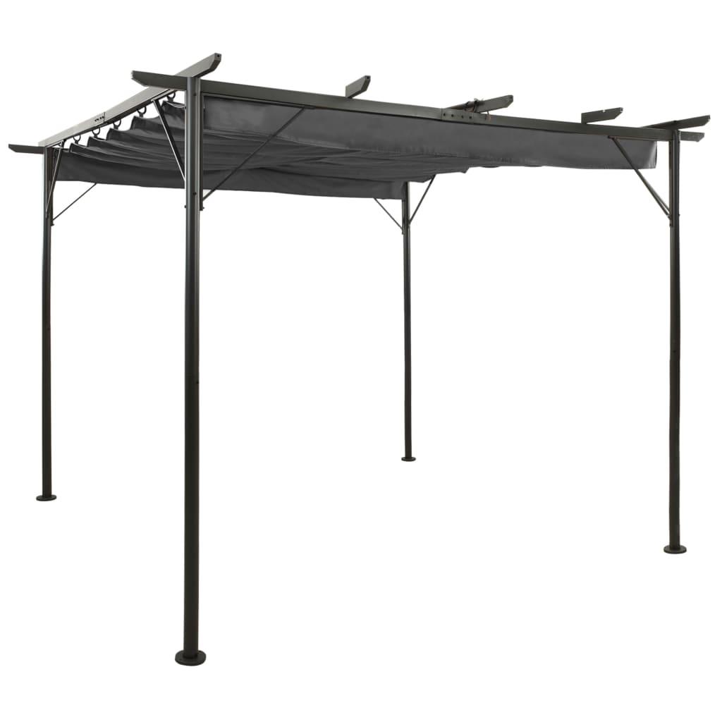 vidaXL Pergolă cu acoperiș retractabil, antracit, 3x3m, oțel, 180 g/m² vidaxl.ro