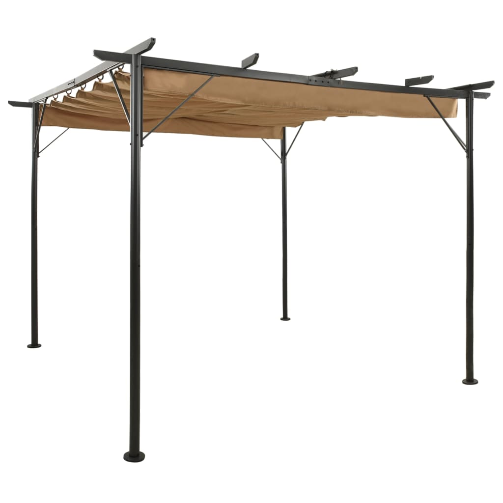 vidaXL Pergolă cu acoperiș retractabil gri taupe 3x3 m, oțel, 180 g/m² vidaxl.ro