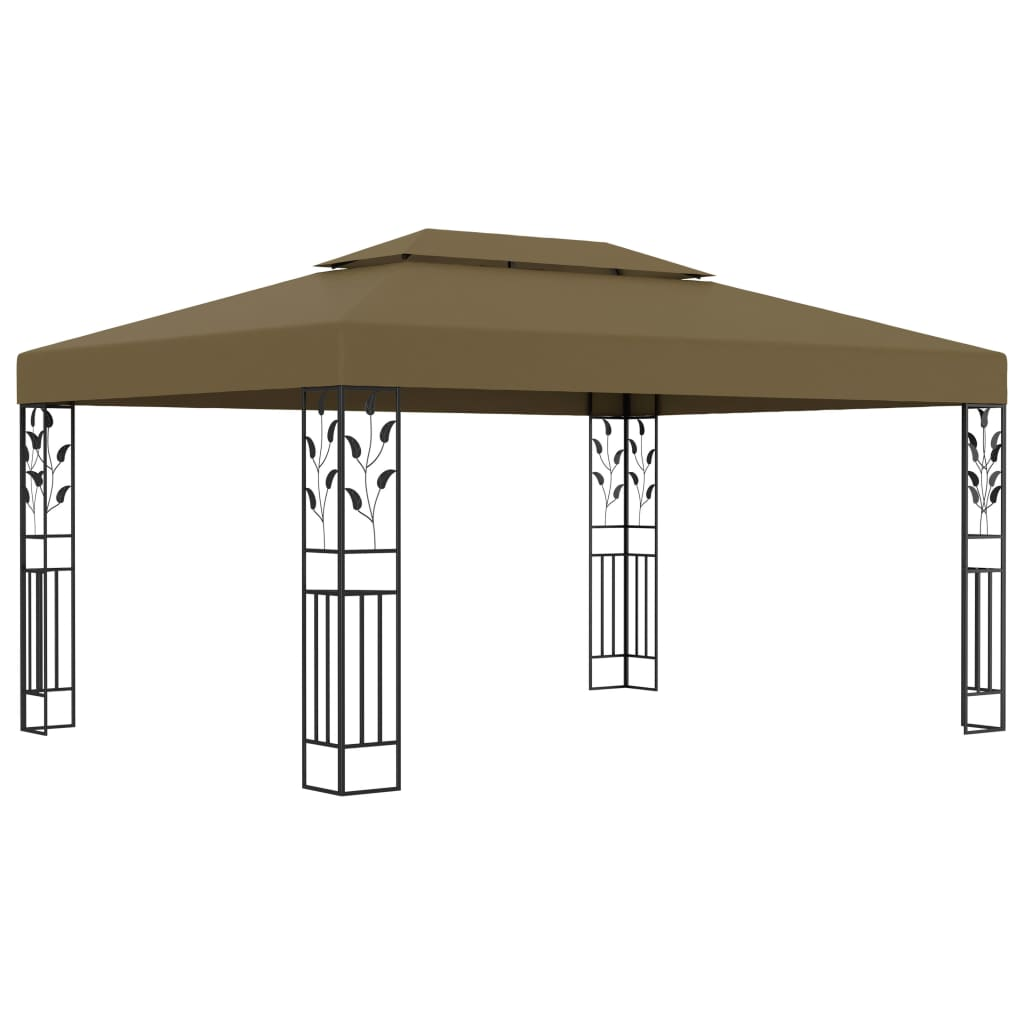 vidaXL Pavilion cu acoperiș dublu, gri taupe, 3 x 4 m, 180 g/m² vidaxl.ro