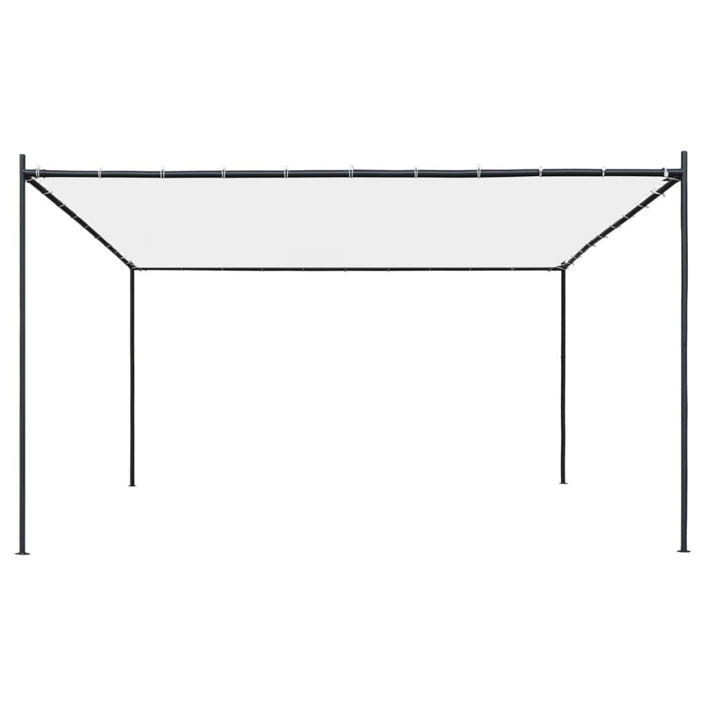 vidaXL Tuinpaviljoen met plat dak 180 g/m² 4x4x2,4 m wit