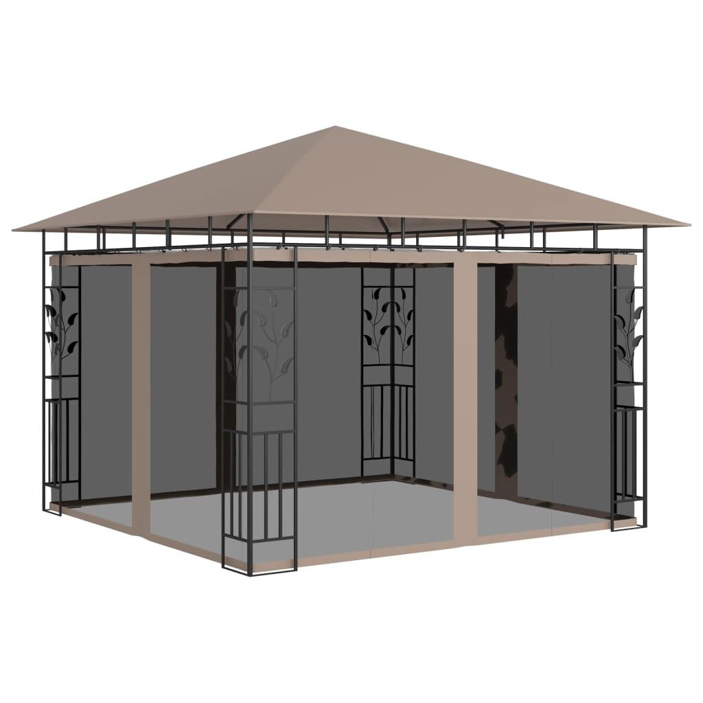 vidaXL Pavilion cu plasă anti-țânțari, gri taupe, 3x3x2,73 m, 180 g/m² poza 2021 vidaXL