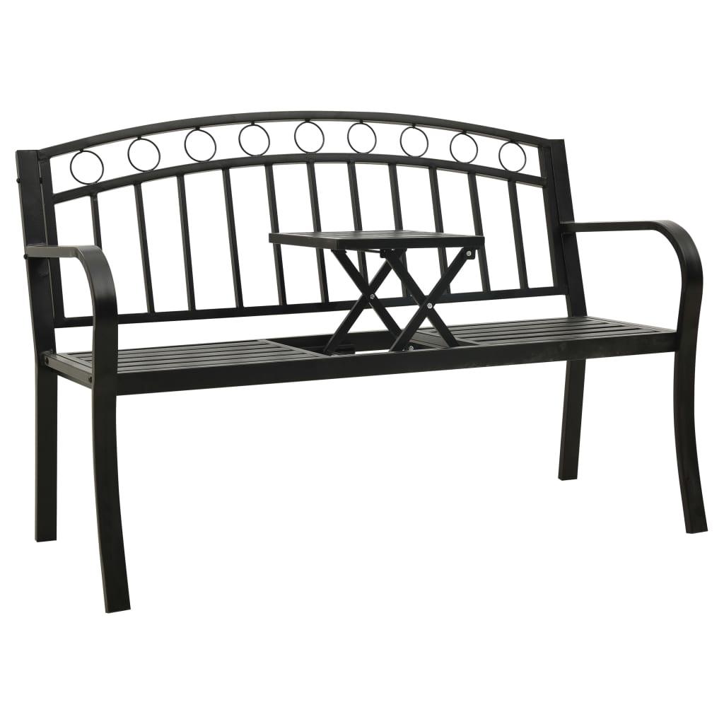 vidaXL Bancă de grădină cu masă, negru, 125 cm, oțel poza vidaxl.ro