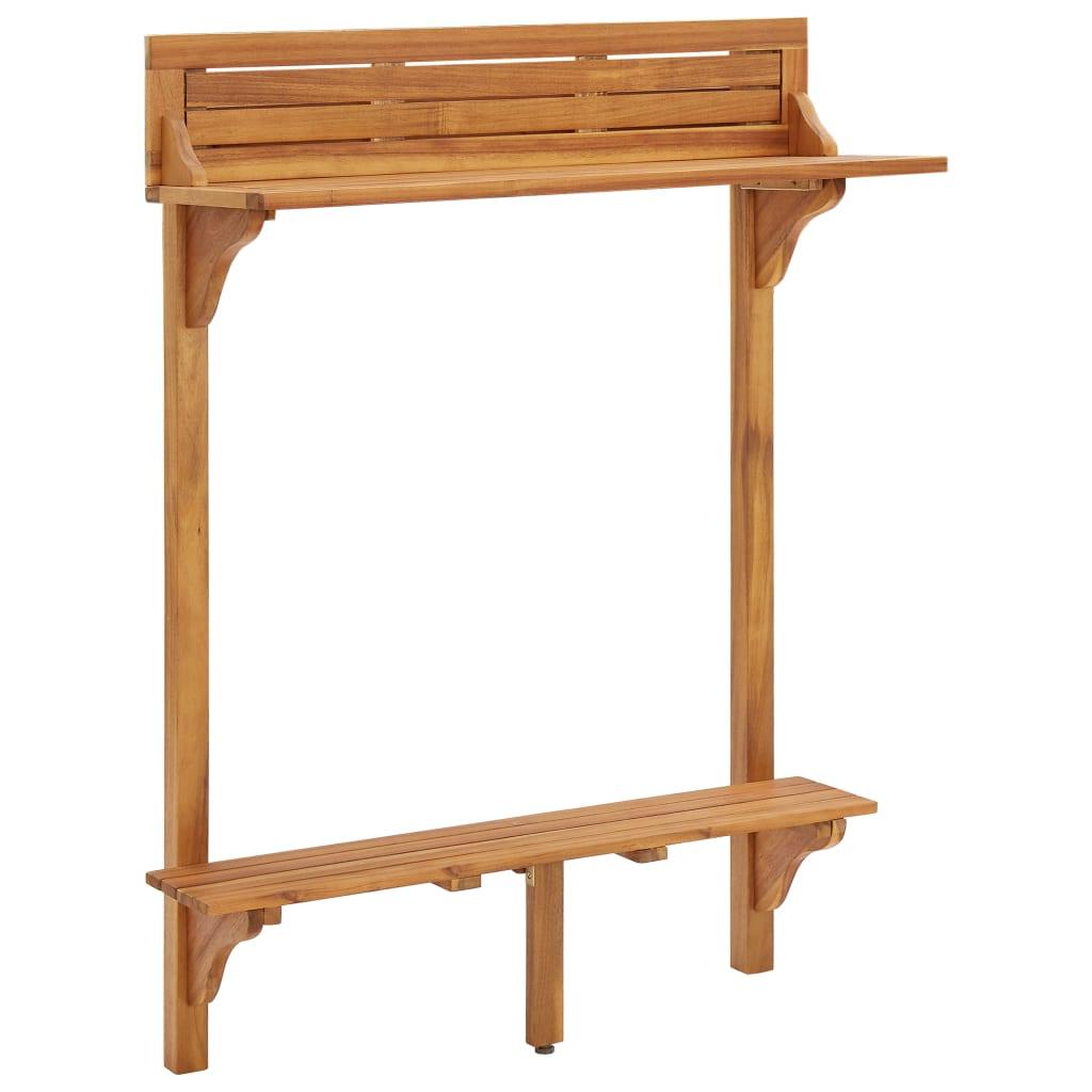 vidaXL Masă de bar pentru balcon, 90x37x122,5 cm, lemn masiv de acacia vidaxl.ro