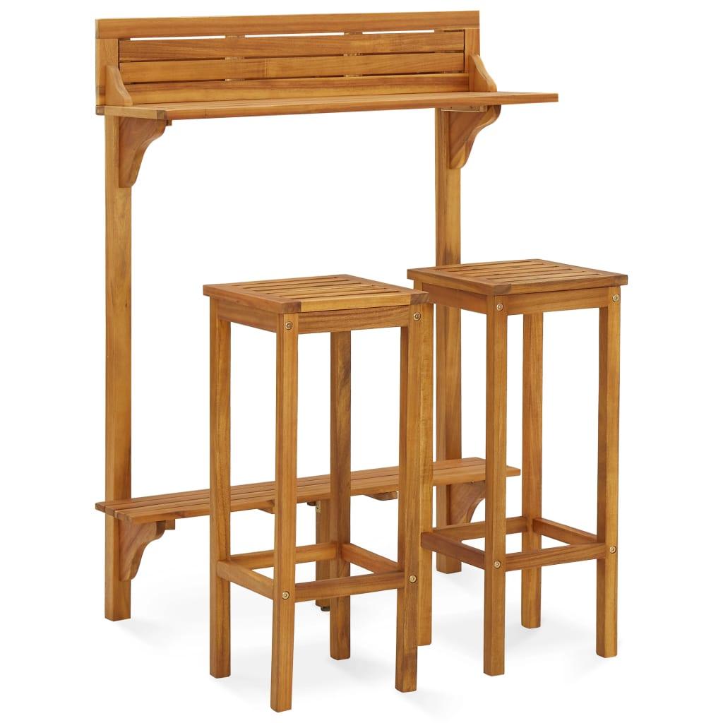 3dílný set zahradního nábytku masivní akáciové dřevo