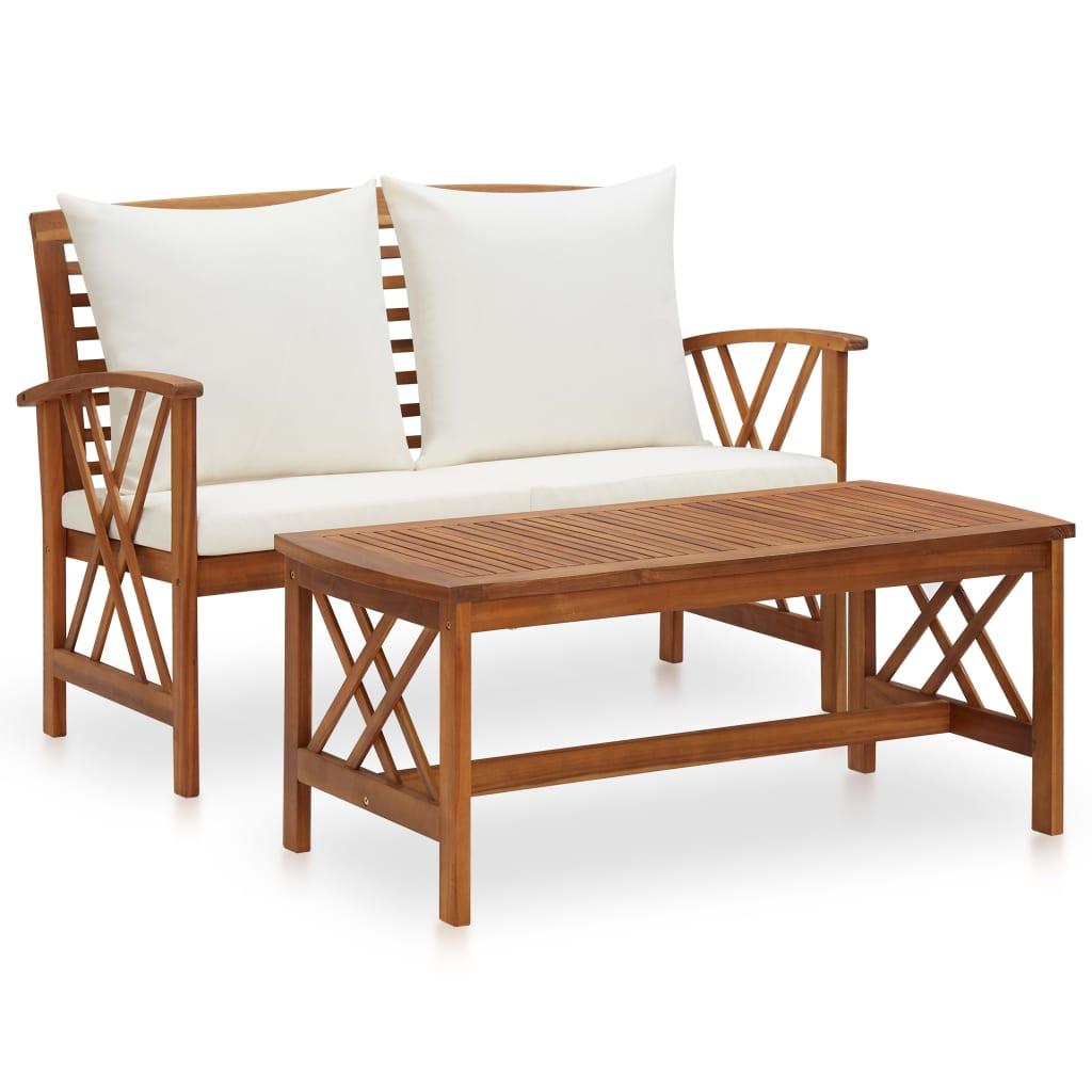 vidaXL Set mobilier de grădină cu perne, 2 piese, lemn masiv de acacia imagine vidaxl.ro