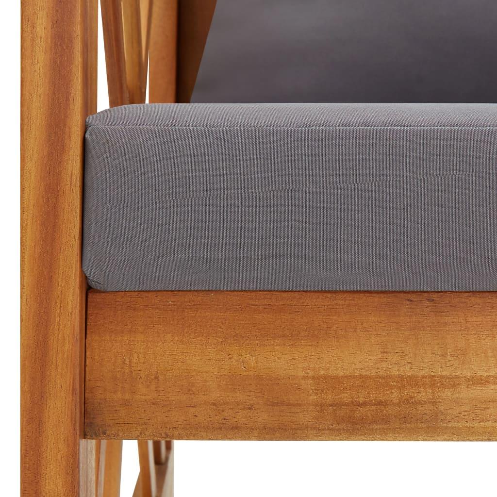 vidaXL 2-delige Loungeset met kussens massief acaciahout