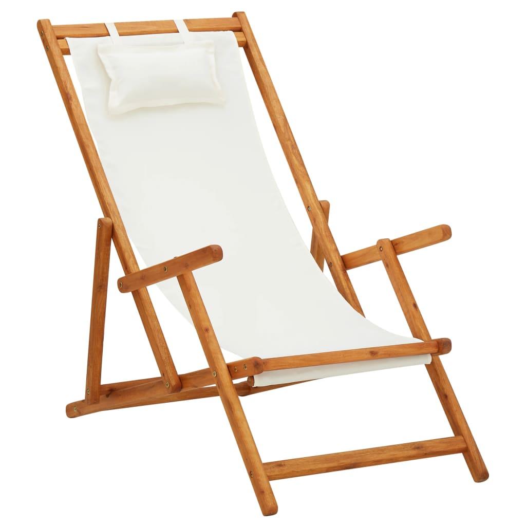 vidaXL Scaun de plajă pliabil, crem, lemn masiv de eucalipt, textil imagine vidaxl.ro