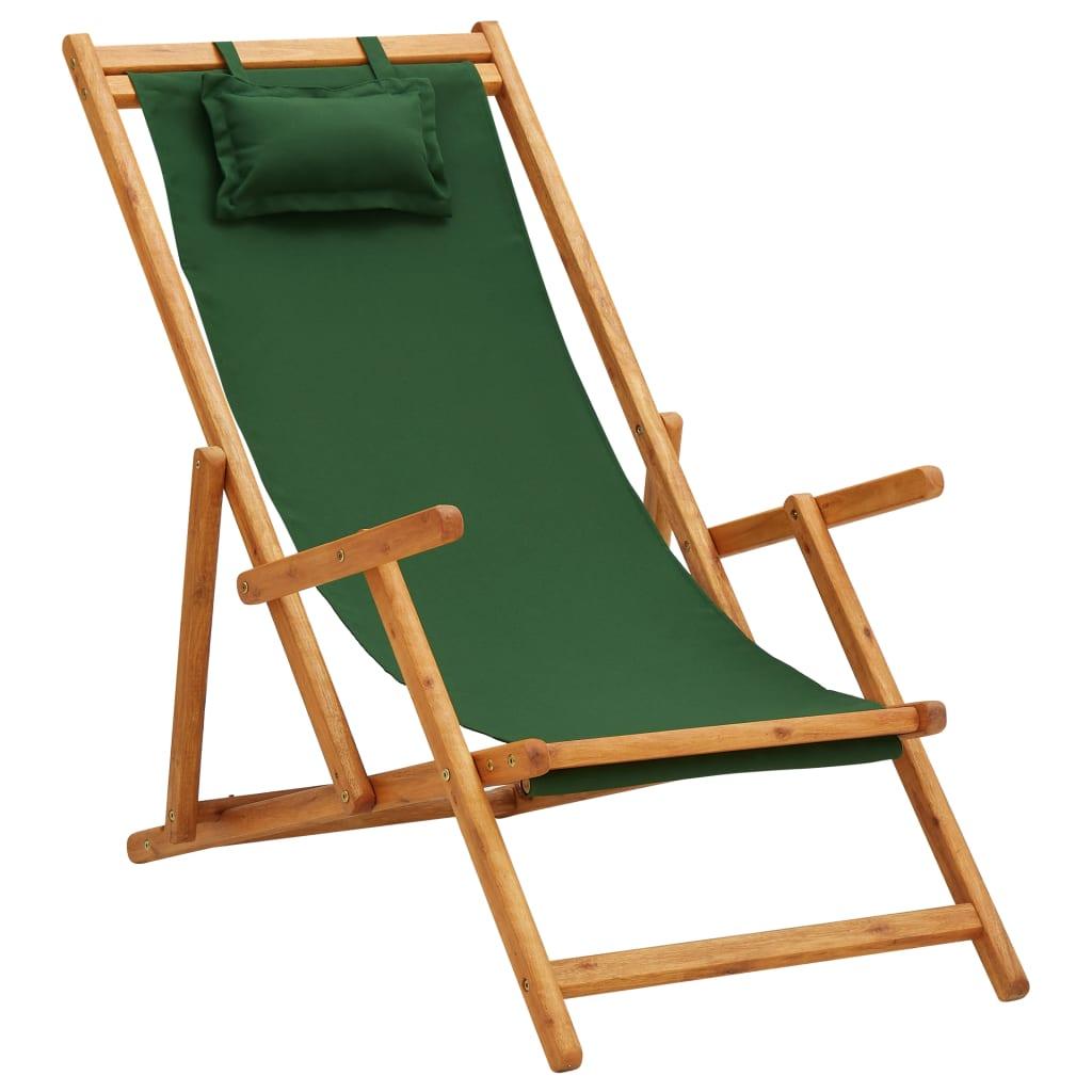 vidaXL Strandstoel inklapbaar massief eucalyptushout en stof groen