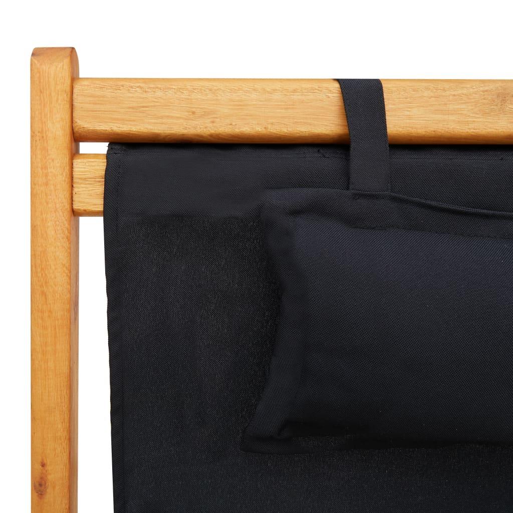 vidaXL Strandstoel inklapbaar massief eucalyptushout en stof zwart