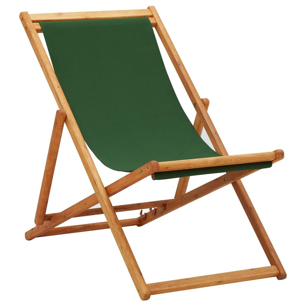 vidaXL Scaun de plajă pliabil, verde, lemn de eucalipt și țesătură imagine vidaxl.ro