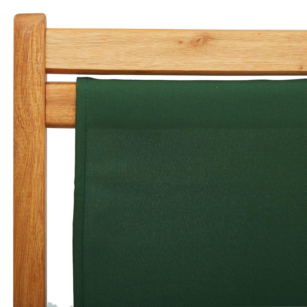 vidaXL Strandstoel inklapbaar eucalyptushout en stof groen