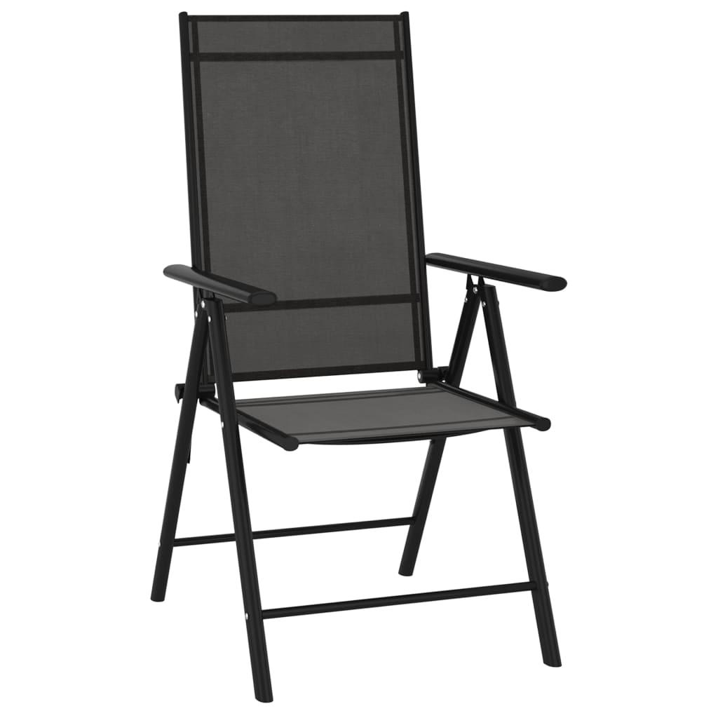 vidaXL Tuinstoelen 6 st inklapbaar textileen zwart