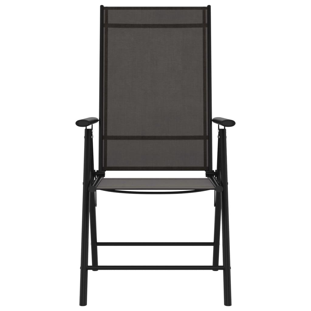 vidaXL Tuinstoelen 8 st inklapbaar textileen zwart