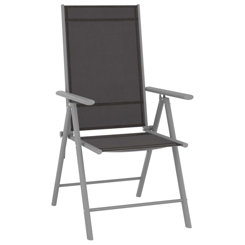 vidaXL Tuinstoelen 4 st inklapbaar textileen zwart