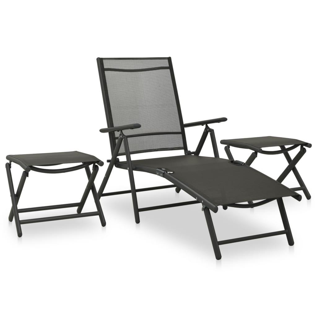 3dílná zahradní sedací souprava textilen a hliník antracitová