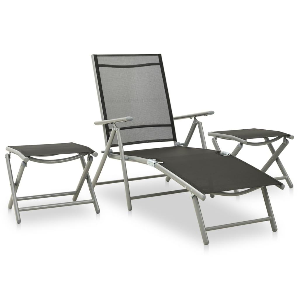 3dílná zahradní sedací souprava textilen a hliník stříbrná