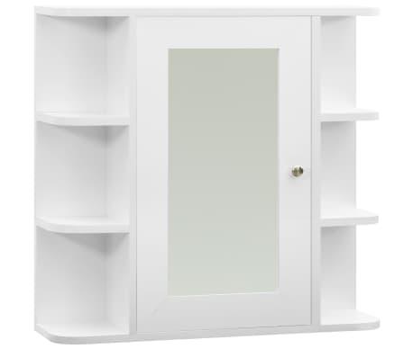 vidaXL Armario de espejo de baño MDF blanco 66x17x63 cm