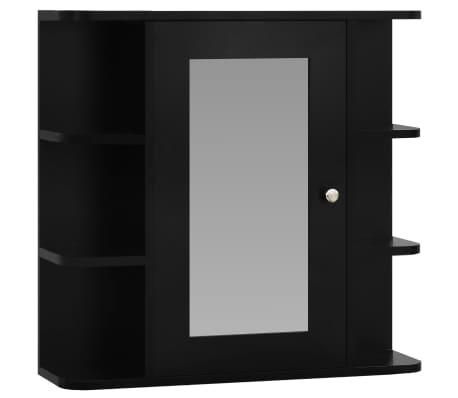 vidaXL Armario de espejo de baño MDF negro 66x17x63 cm