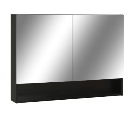 vidaXL Armario de espejo de baño con LED MDF negro 80x15x60 cm