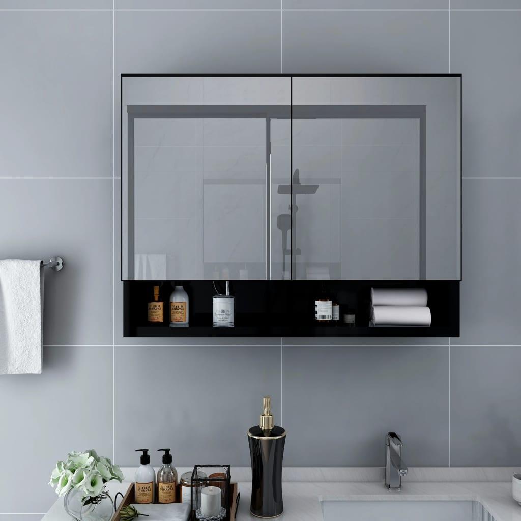 vidaXL Dulap de baie cu oglindă și LED-uri, negru 80 x 15 x 60 cm MDF vidaxl.ro