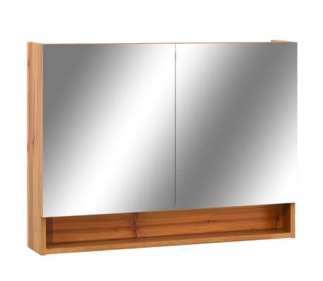 vidaXL Armario de espejo de baño con LED MDF color roble 80x15x60 cm