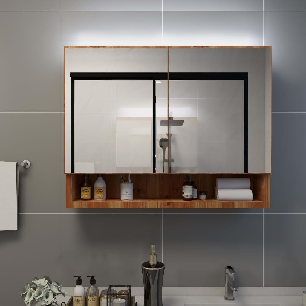 vidaXL Dulap de baie cu oglindă și LED-uri, stejar 80 x 15 x 60 cm MDF vidaxl.ro