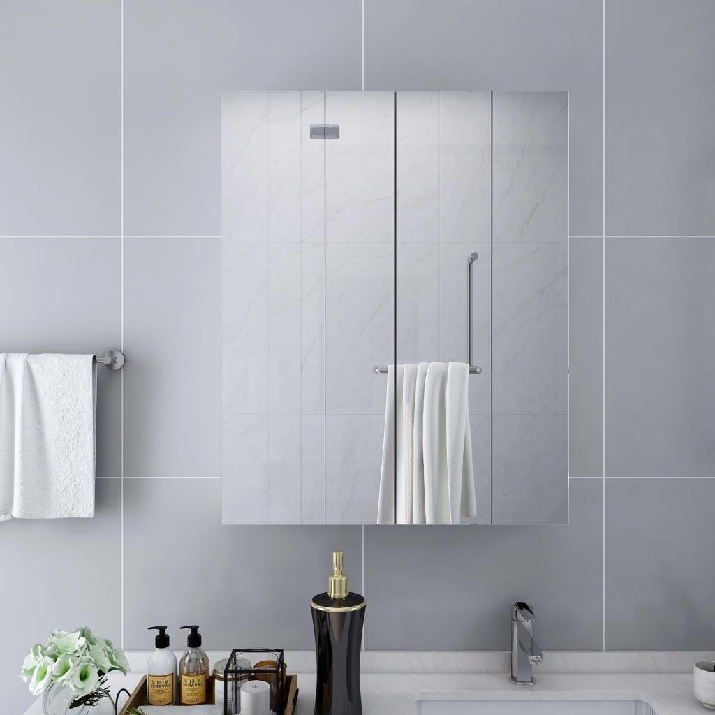 vidaXL Dulap de baie cu oglindă, alb, 60 x 15 x 75 cm, MDF vidaxl.ro