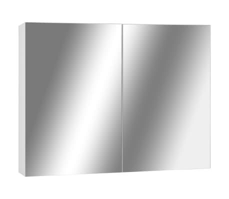 vidaXL Armario de espejo de baño MDF blanco 80x15x60 cm