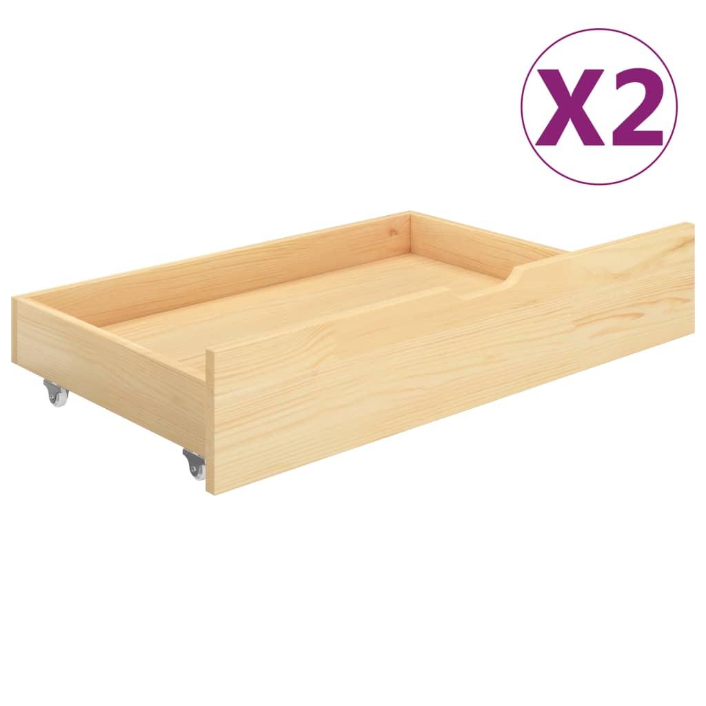 vidaXL Sertare pentru pat, 2 buc., lemn masiv de pin imagine vidaxl.ro