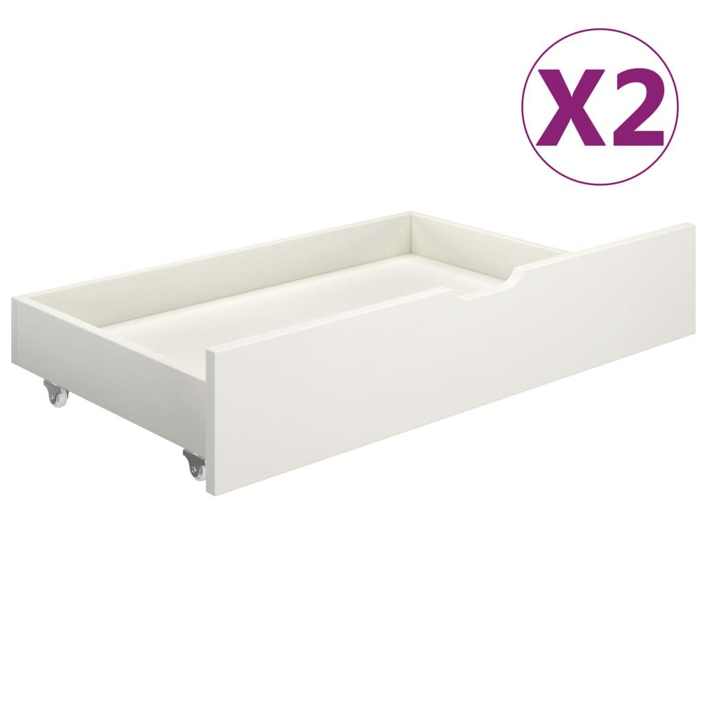 vidaXL Sertare pentru pat, 2 buc., alb, lemn masiv de pin imagine vidaxl.ro