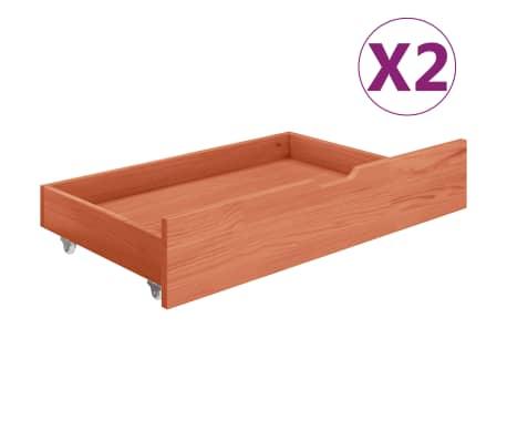 vidaXL Bedlades 2 st massief grenenhout honingbruin