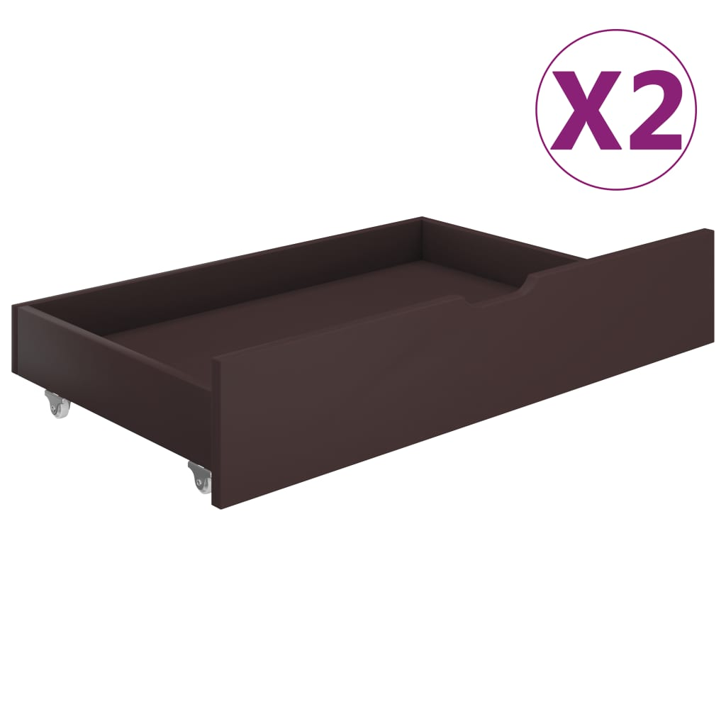 vidaXL Sertare de pat, 2 buc., maro închis, lemn masiv de pin imagine vidaxl.ro