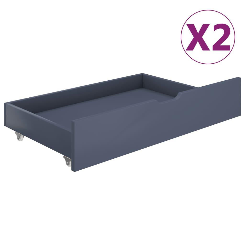 vidaXL Sertare pentru pat, 2 buc., gri deschis, lemn masiv de pin imagine vidaxl.ro