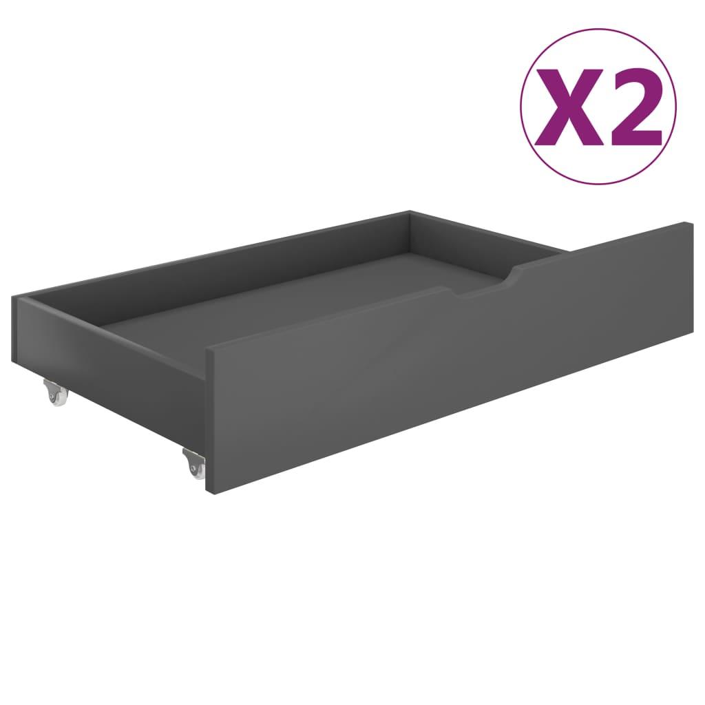 vidaXL Sertare pentru pat, 2 buc., gri închis, lemn masiv de pin imagine vidaxl.ro