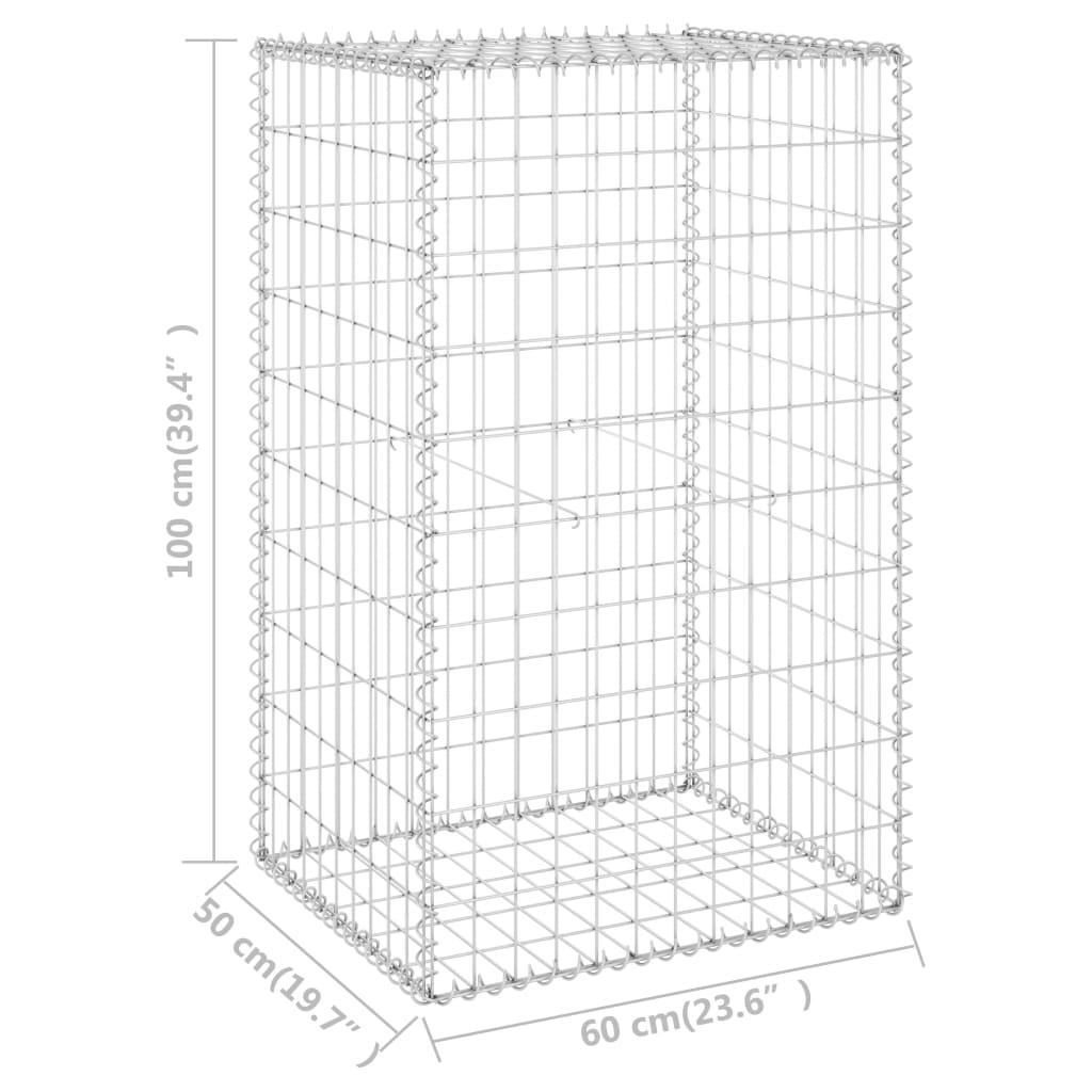 vidaXL Schanskorfmuur met deksels 60x50x150 cm gegalvaniseerd staal