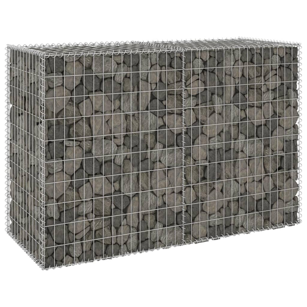 vidaXL Schanskorfmuur met deksels 150x60x100 cm gegalvaniseerd staal