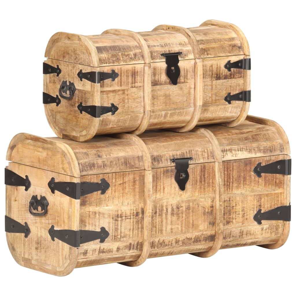 vidaXL Cufere de depozitare, 2 piese, lemn masiv de mango poza 2021 vidaXL