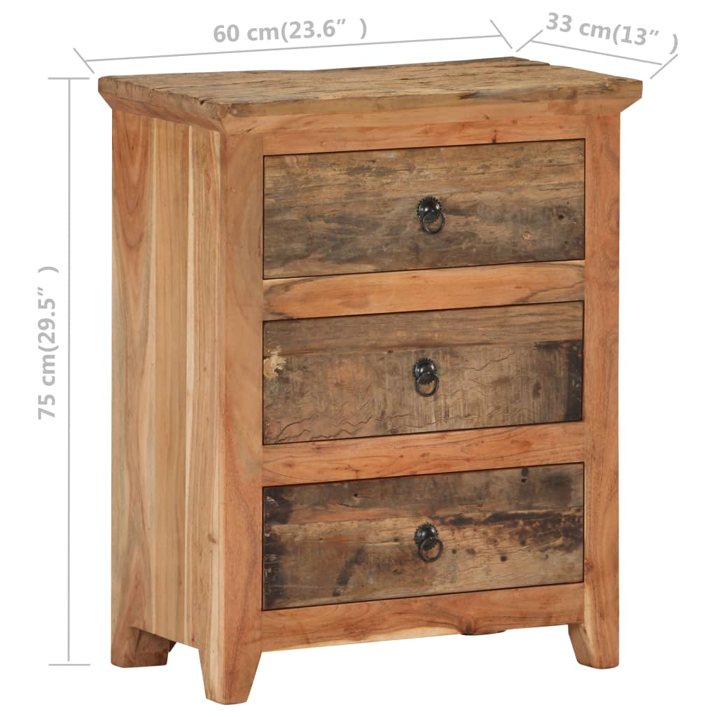 vidaXL Dressoir 60x33x75 cm massief acaciahout en gerecycled hout