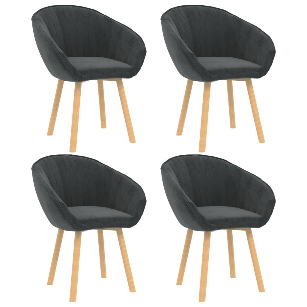 vidaXL Krzesła stołowe, 4 szt., ciemnoszare, aksamitne