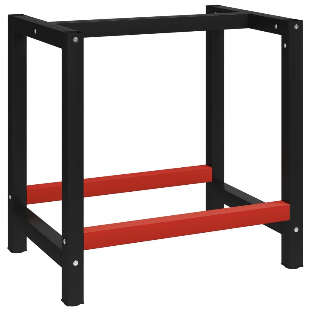 vidaXL Cadru metalic banc de lucru, 80x57x79 cm, negru și roșu imagine vidaxl.ro