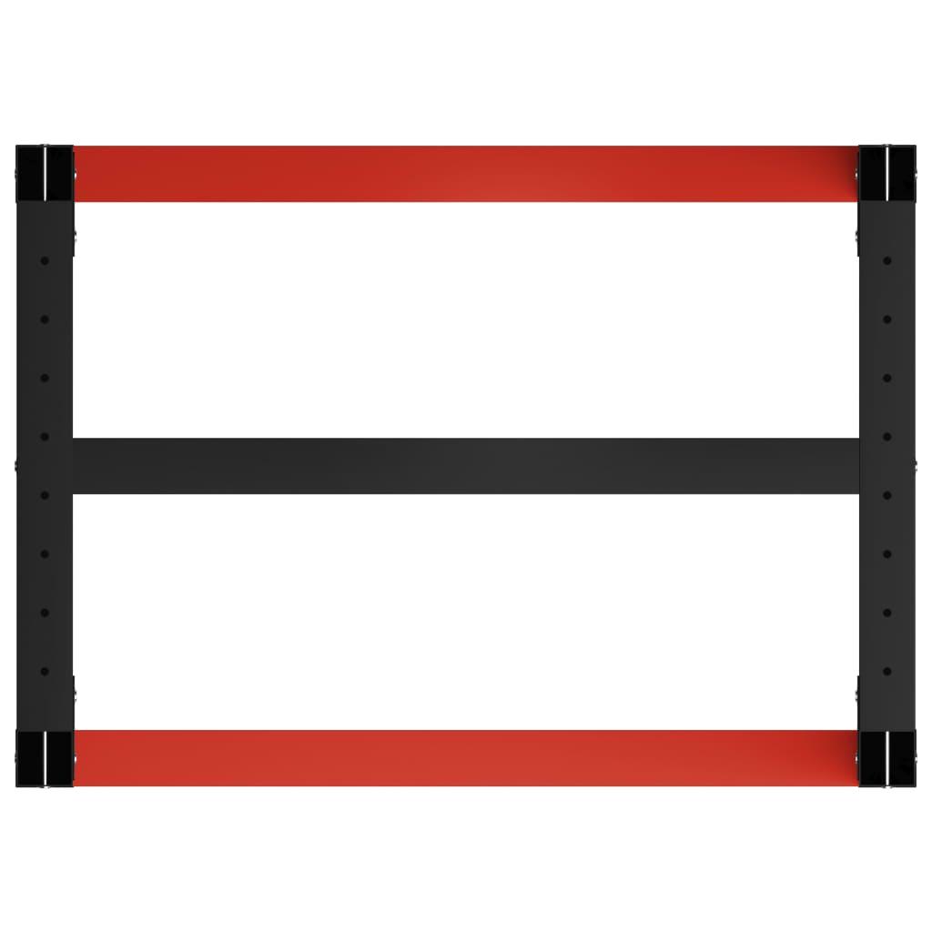 vidaXL Okvir za radni stol metalni 80 x 57 x 79 cm crno-crveni