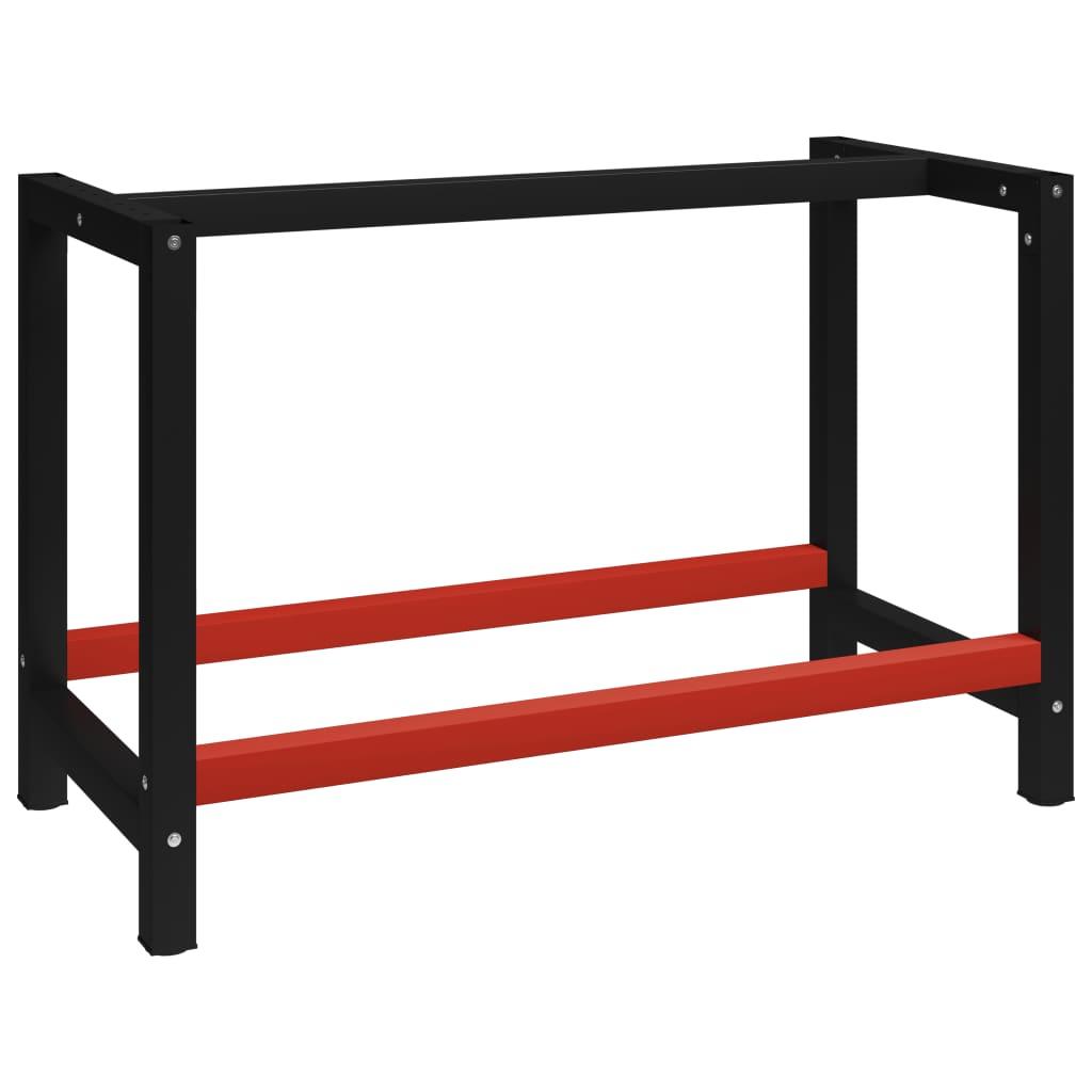 vidaXL Kovový rám pracovního stolu 120 x 57 x 79 cm černá a červená