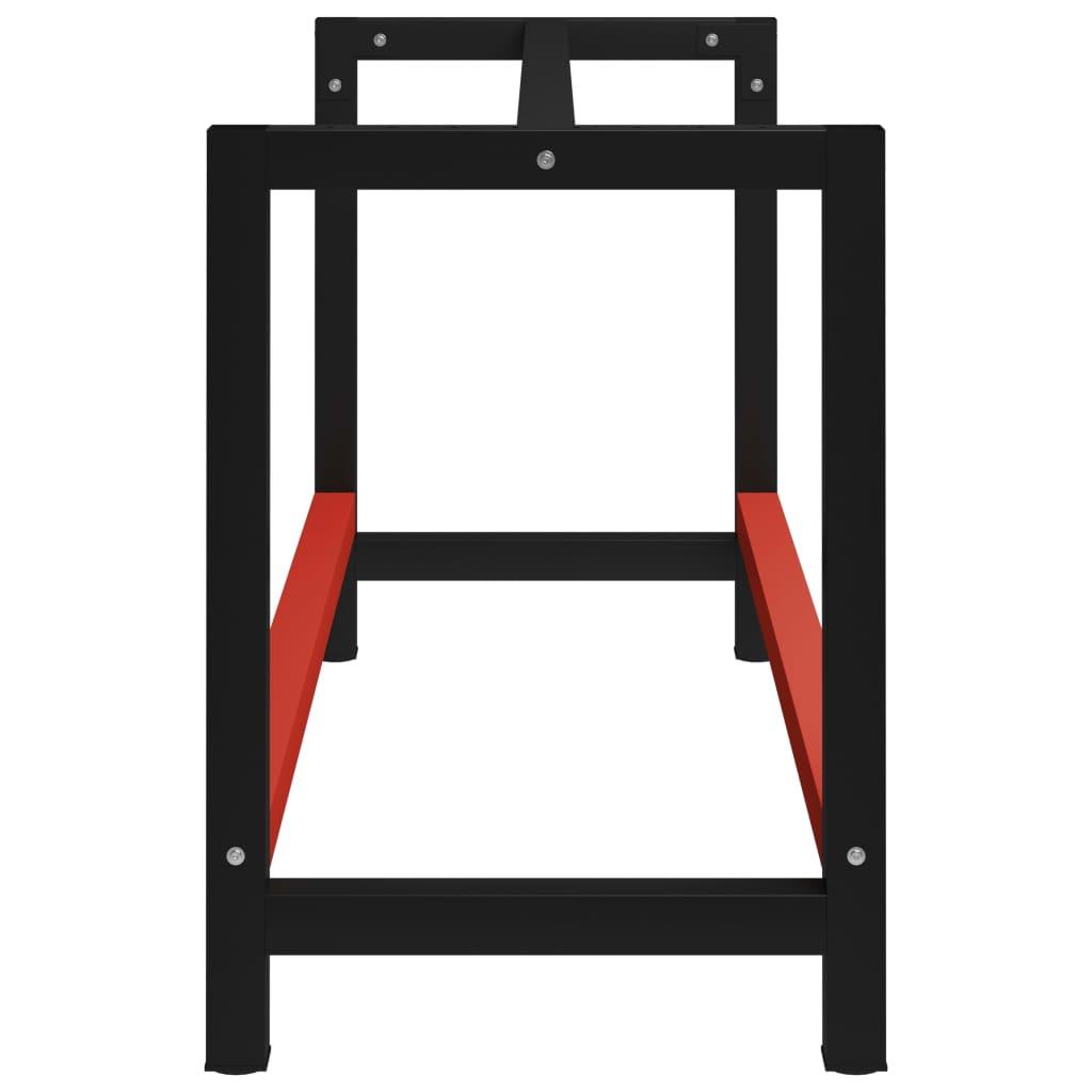 vidaXL Werkbankframe 150x57x79 cm metaal zwart en rood