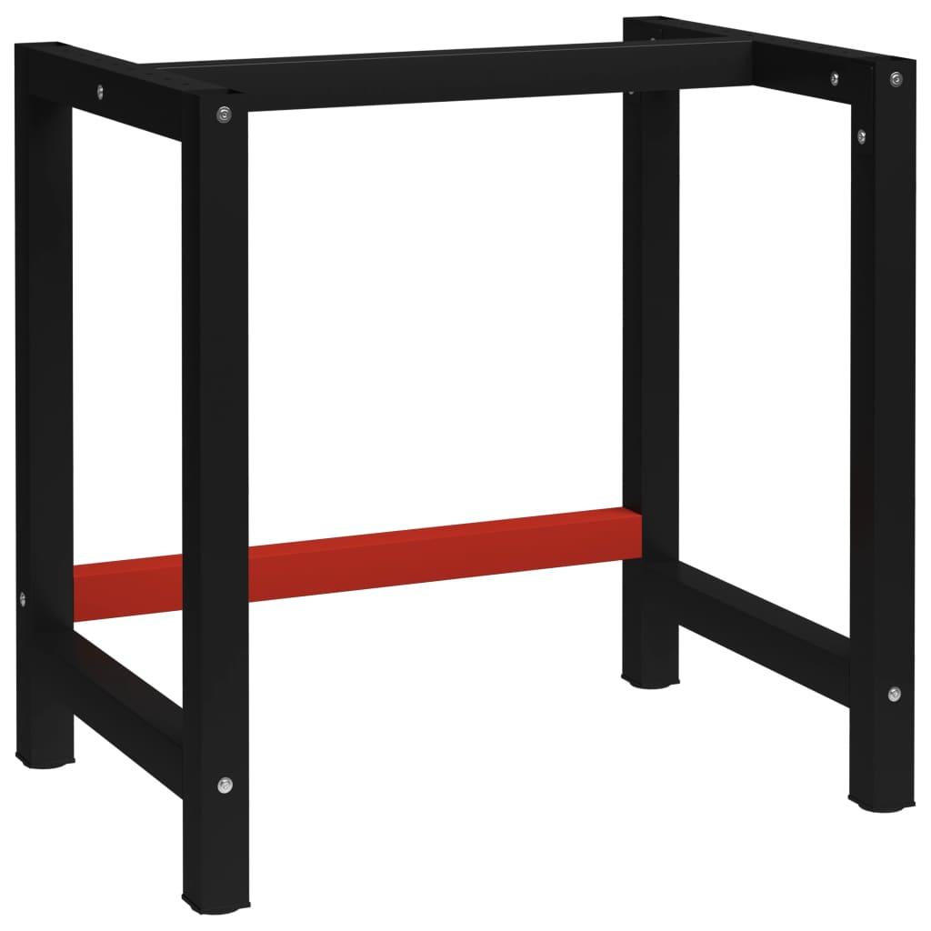 vidaXL Kovový rám pracovního stolu 80 x 57 x 79 cm černá a červená