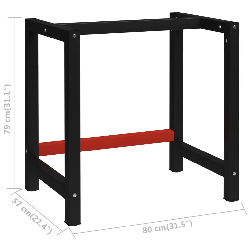 vidaXL Werkbankframe 80x57x79 cm metaal zwart en rood